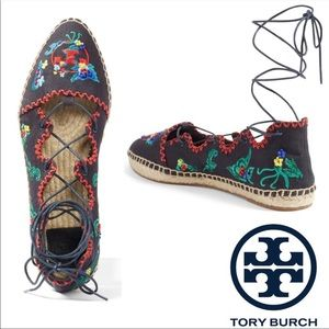 Tory Burch Sonoma Embroidered Ghillie Espadrille